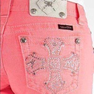 Miss Me Bermuda shorts women's size 28 coral pink